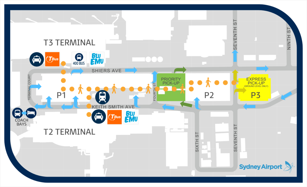 Sydney Airport Transfers, T2-T3 Domestic Map